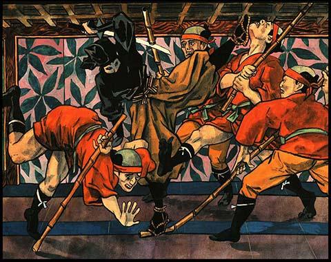 Scène de combat (extrait de 'Le chien de Chambara', de Hugues Micol)