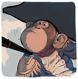 Nelson, le singe captif déguisé en soldat de Napoléon